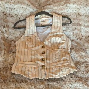 American Eagle Tan Vest with Blue PinStripe